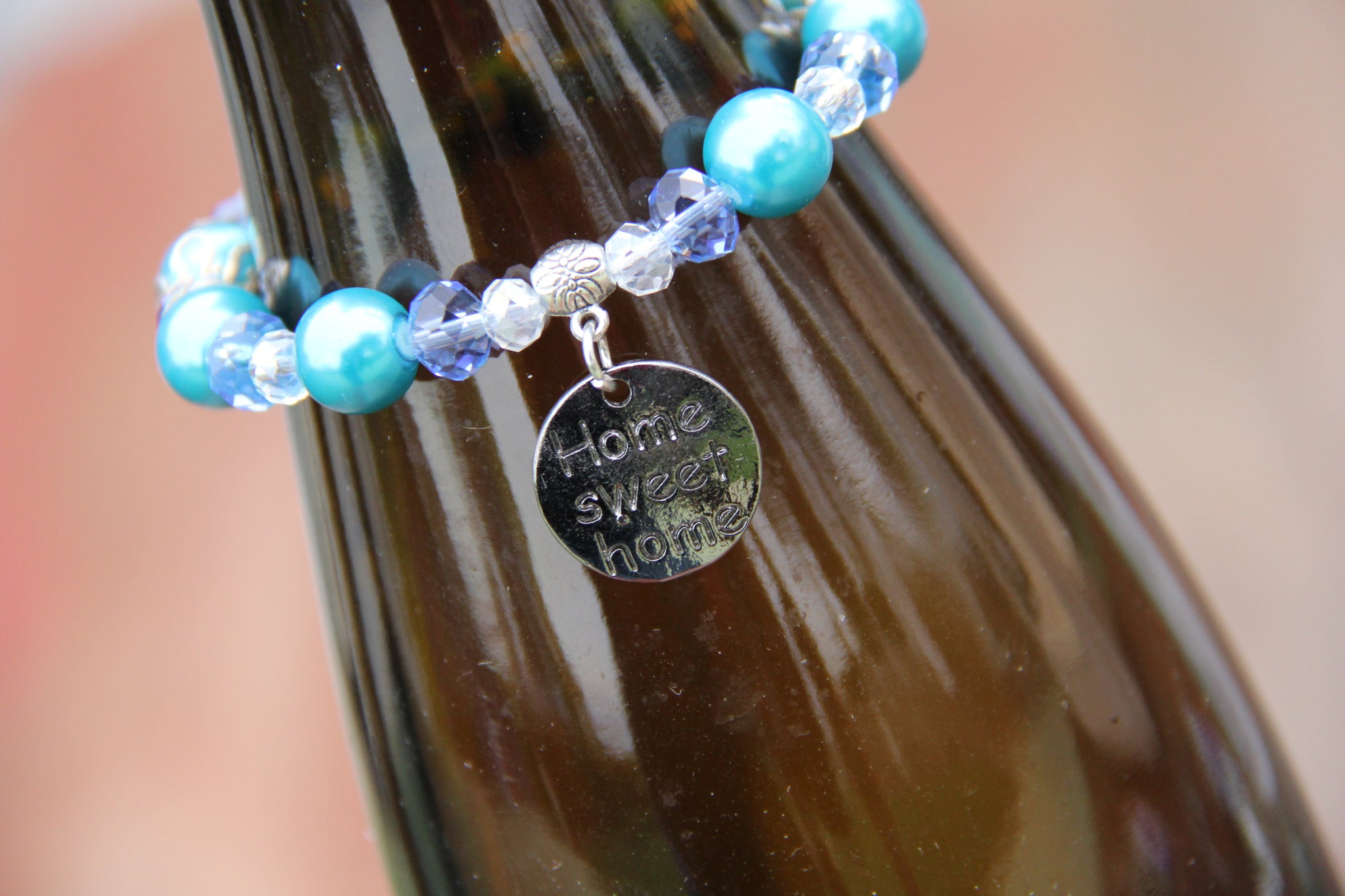 "Turquoise and blue beads bottle bracelet with ""Home sweet home"" charm"