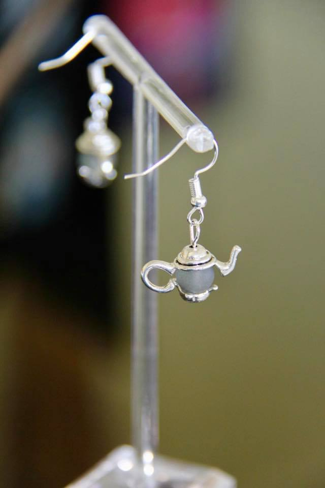 Tea pot ear rings handmade with sea glass beads
