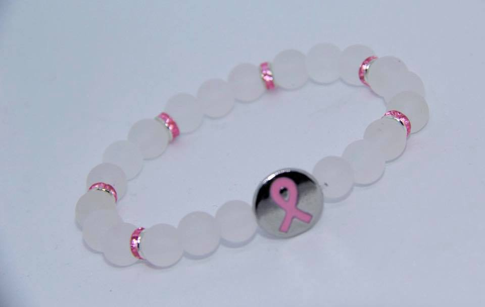 White seaglass beads cancer awareness bracelet