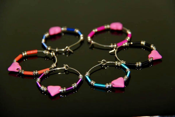Cancer Awareness Wine Glass RIngs - Pink Hearts