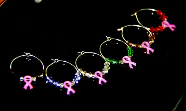 Pink Ribbon Cancer Awareness - Wine Glass Rings