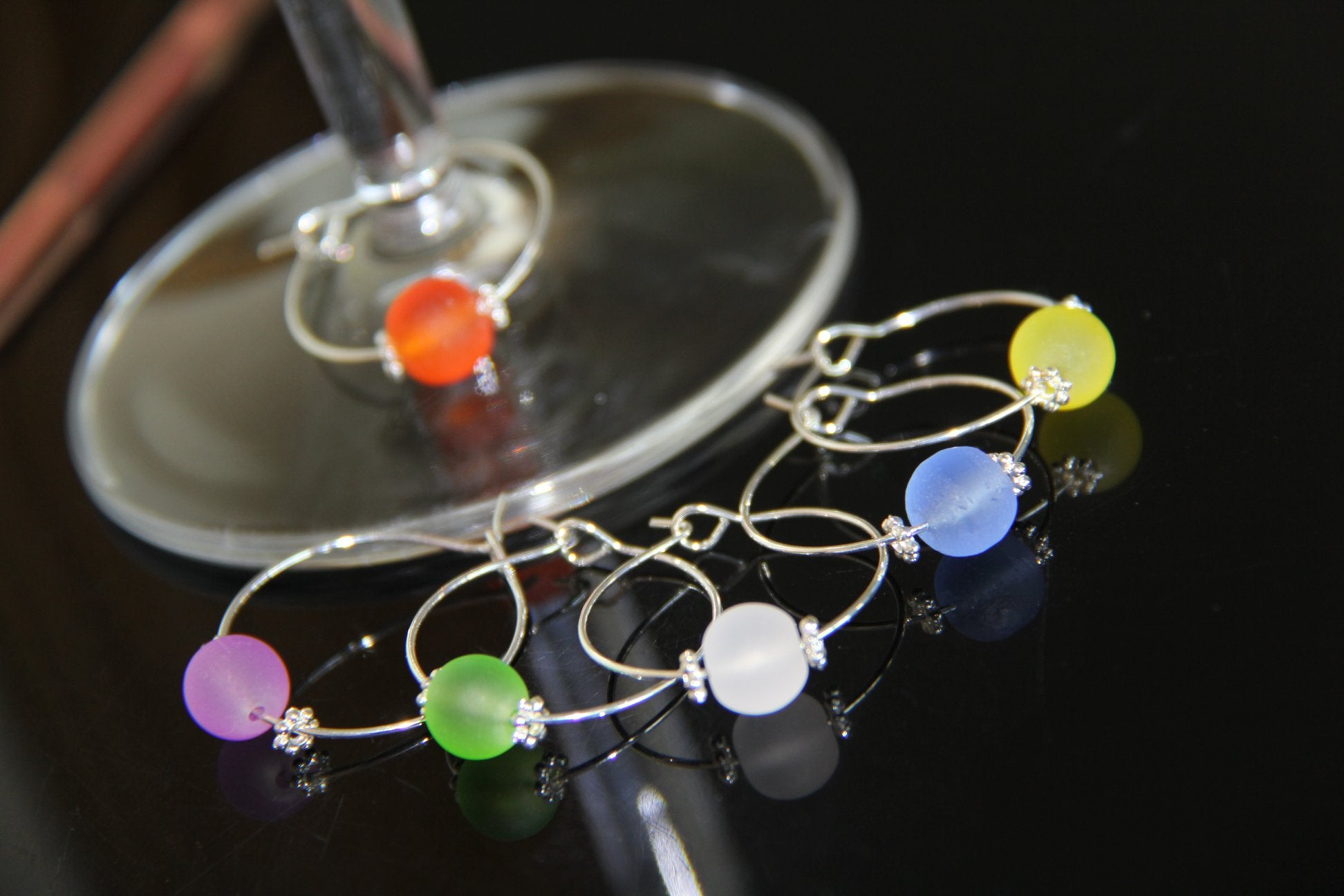 Silver Seaglass Beads - Wine Glass Rings