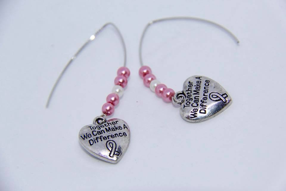 "Ear rings with ""Together We Can Make a Difference"" charm"