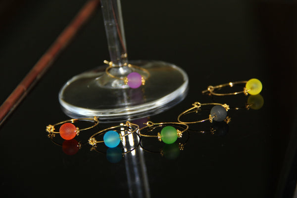 Colored Seaglass Beads Gold - Wine Glass Rings
