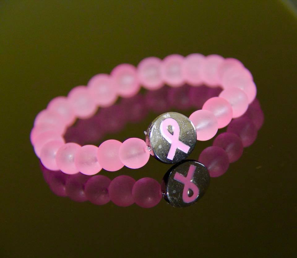 Pink sea glass beads cancer awareness bracelet