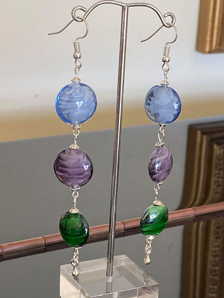 Summer Earrings with flat multi colored glass lampwork beads