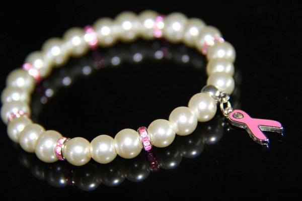 White glass pearls with pink ribbon bracelet
