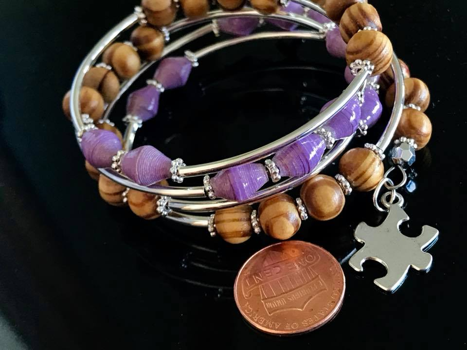 Memory wire bracelets made with different types of materials