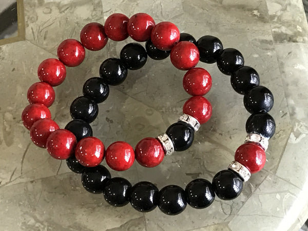His & Hers Black & Red beads bracelets