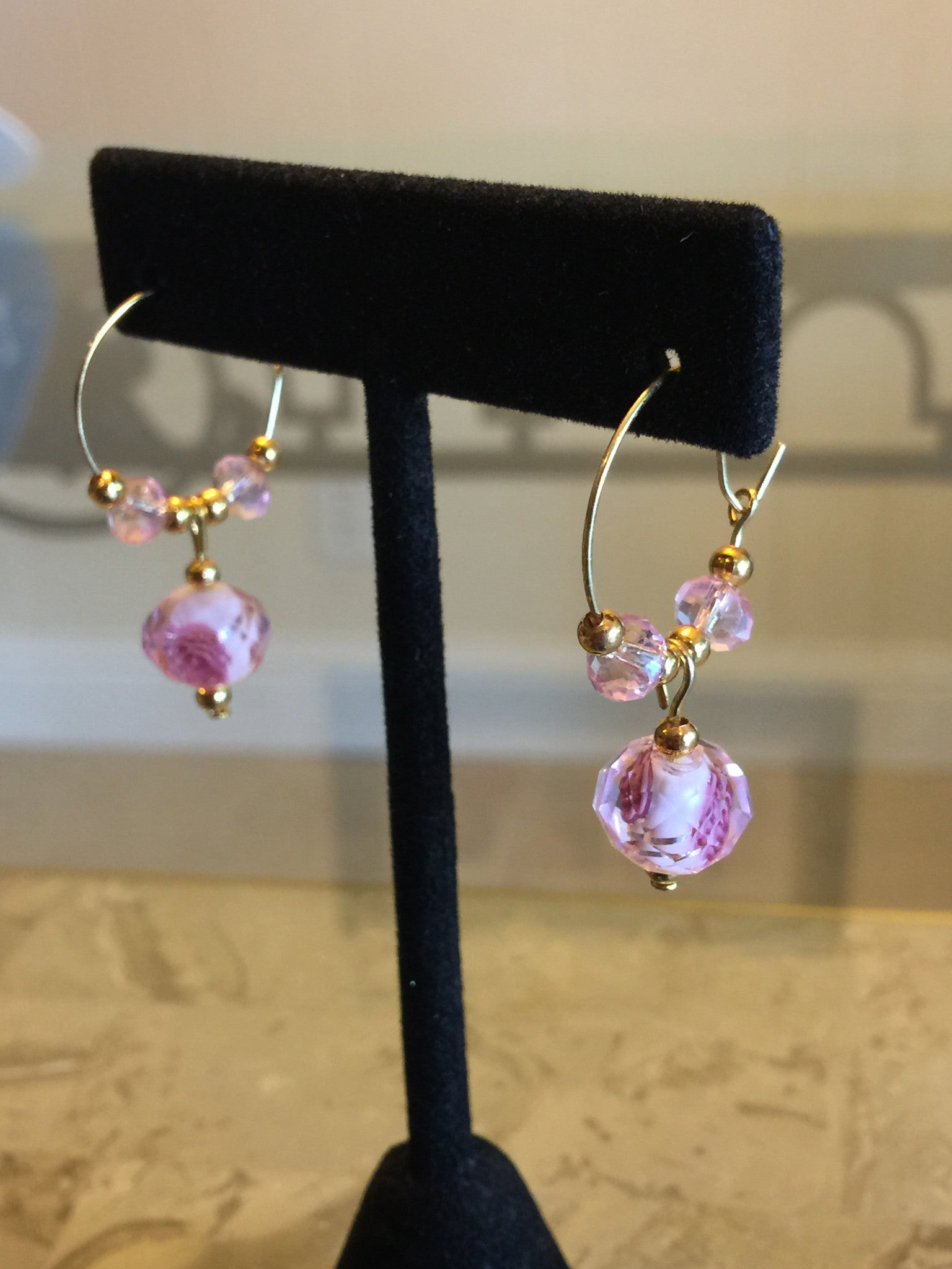 Bali style Pink and gold beads ear rings