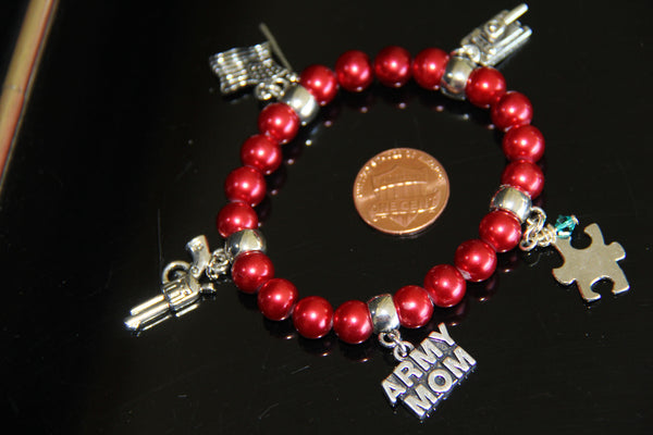 Red pearl glass beads Army Autism bracelet