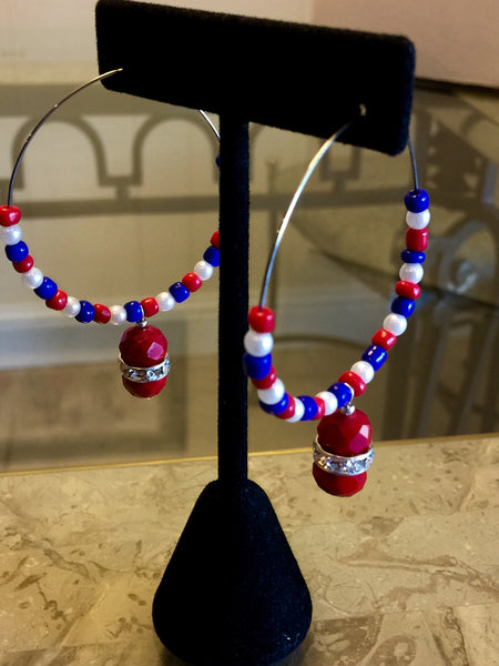 Bali Style red, white & blue colored beads