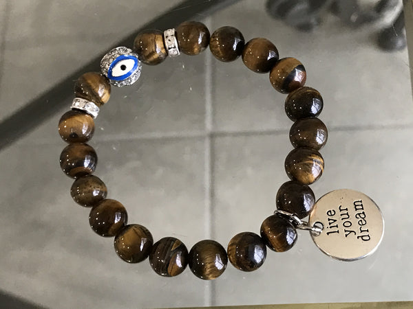 Tiger Eye, Evil Eye with Live your Dream charm