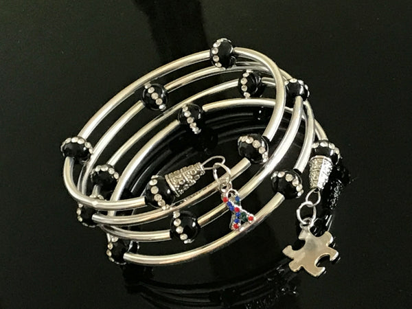 Autism awareness black onyx cubic zirconia beads memory wire bracelet