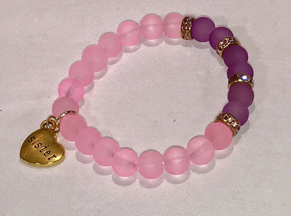 Pink & purple sea glass beads