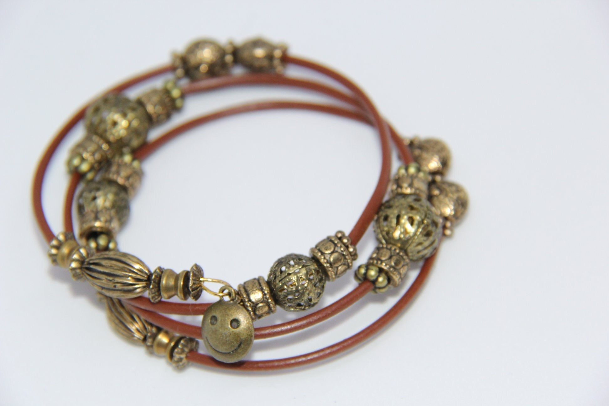 Brown leather memory wire bracelet
