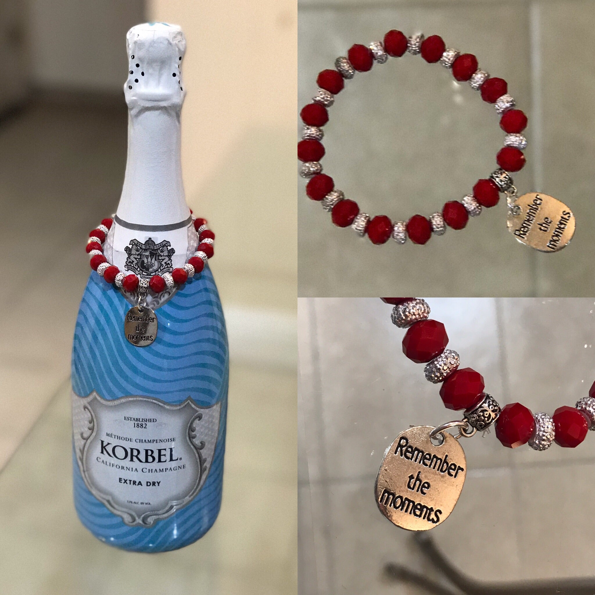 "Red rondelle beads bottle bracelet with ""Remember the moments"" silver charm."
