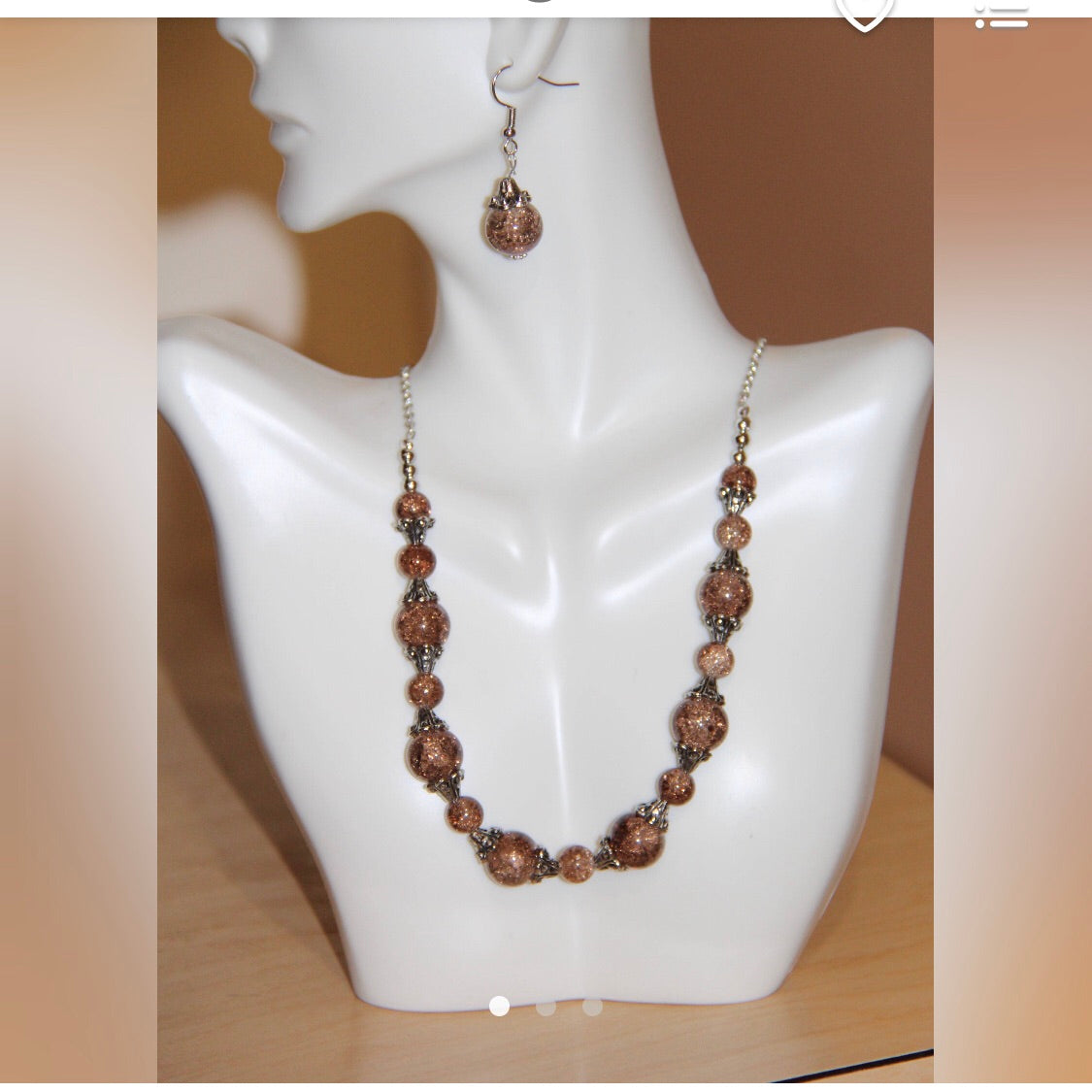 Crackle glass beads necklace set