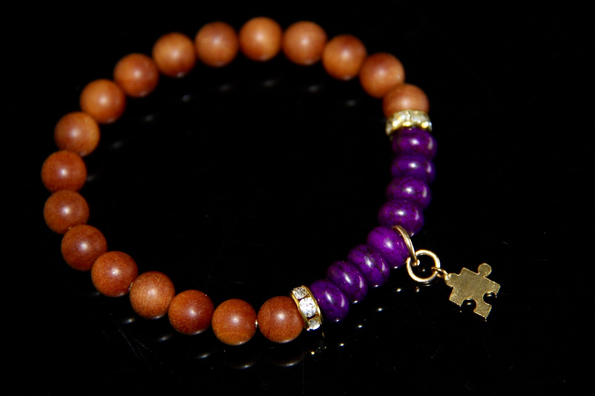 Autism awareness bracelet with gold charm