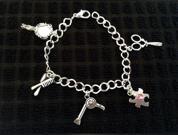 Hair stylist charms bracelet