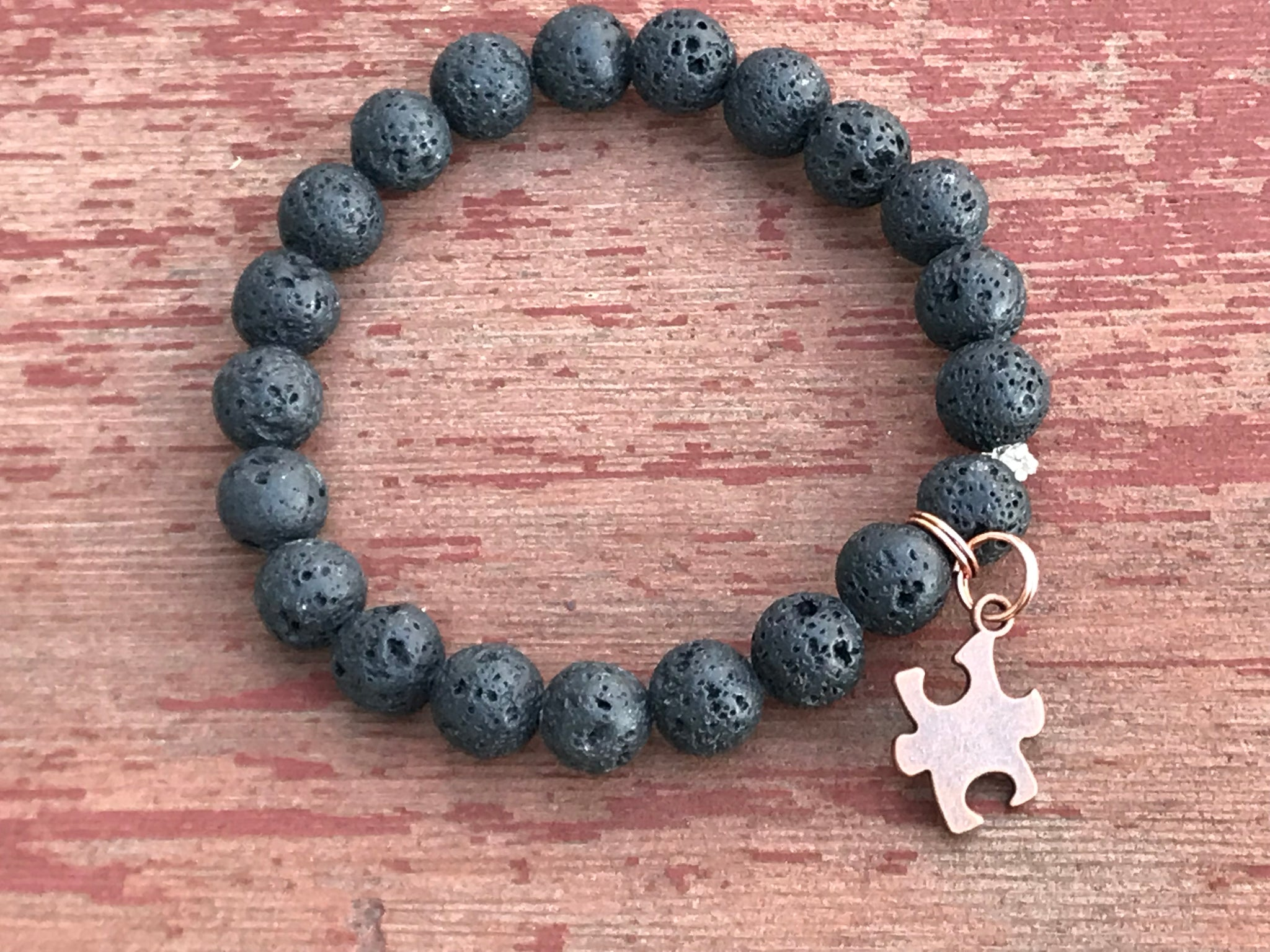 Men's lava rock autism awareness bracelet
