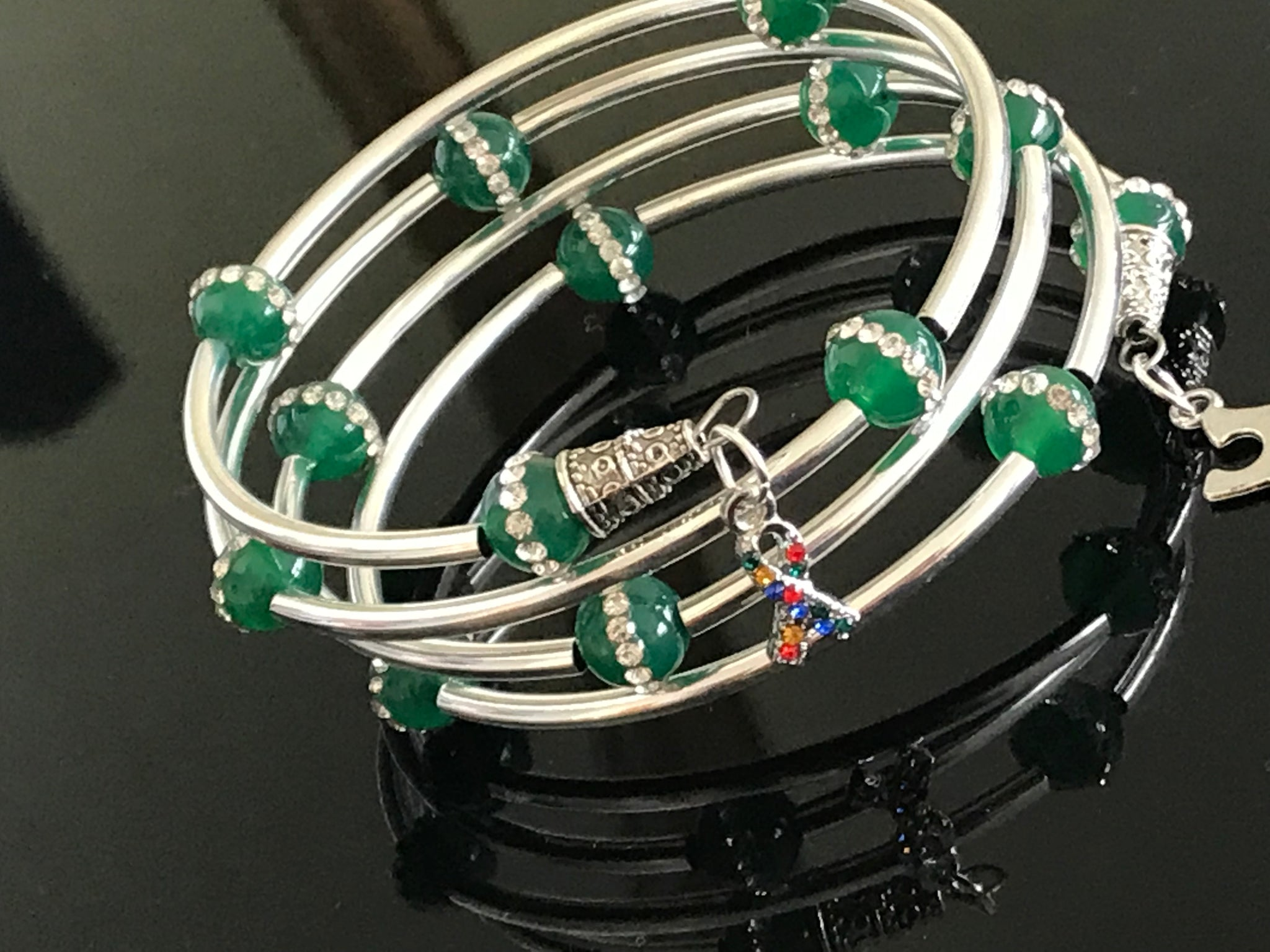 Autism Awareness green jade cubic zirconia bracelet
