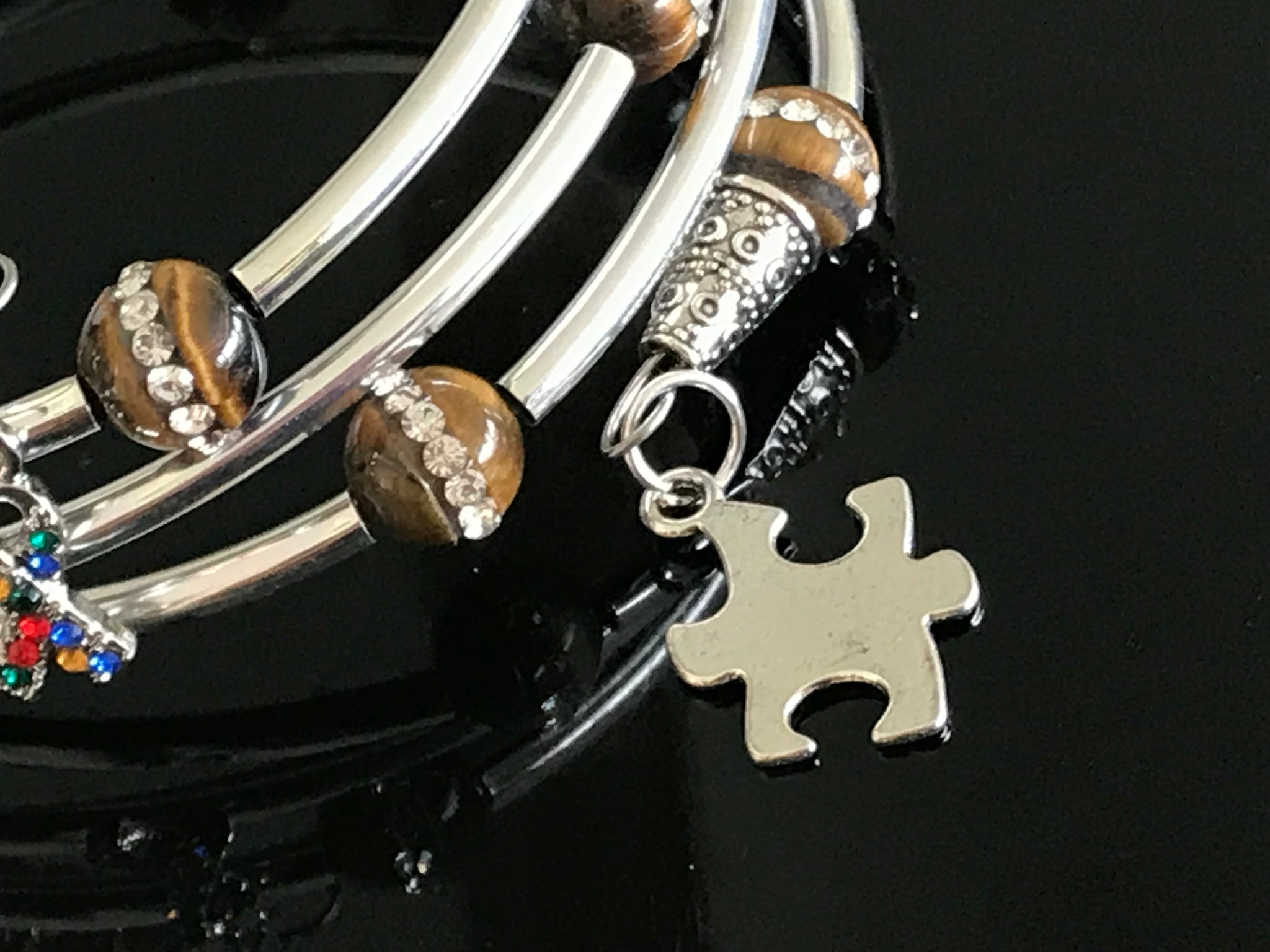 Autism awareness tiger eye cubic zirconia memory wire bracelet