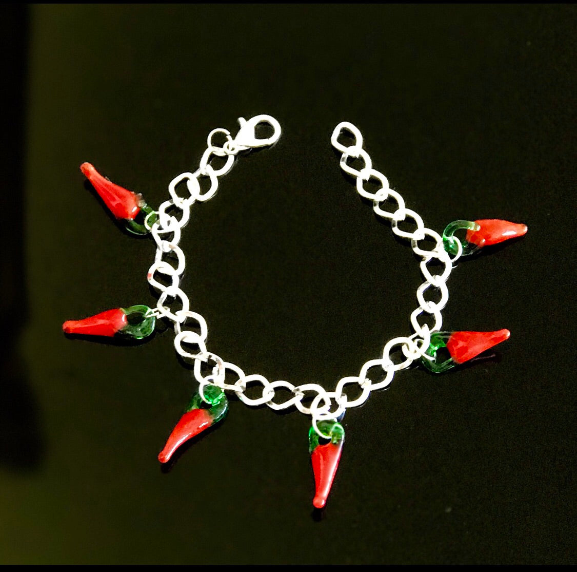 Red chilly glass charms bracelet