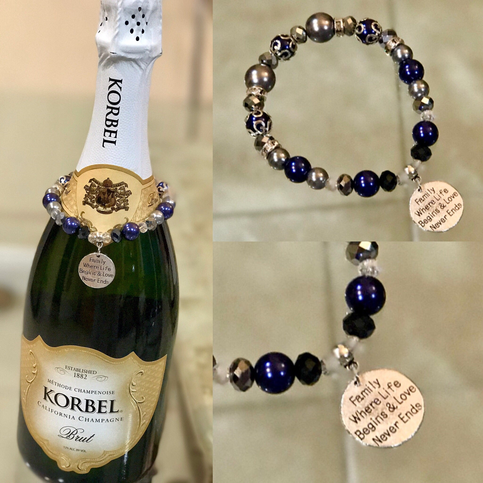 Peacock and silver bottle bracelet