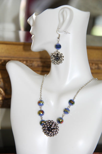 Silver necklace with Blue glass beads