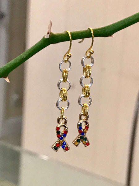 Earrings Autism Ribbon
