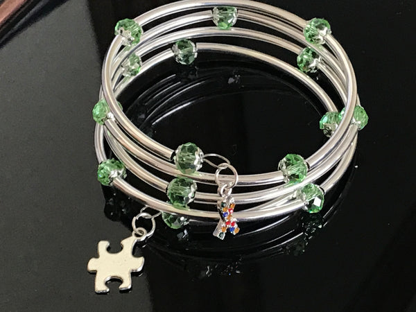 Autism Awareness bracelet memory wire lite green crystal silver noodle beads