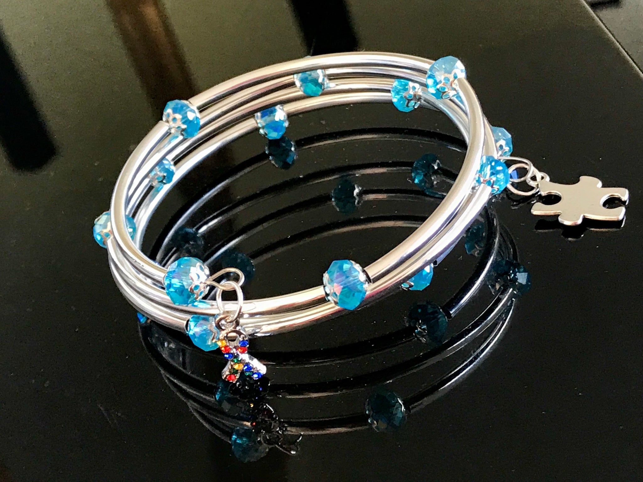 Autism Awareness Memory wire sky blue crystal silver noodle beads bracelet