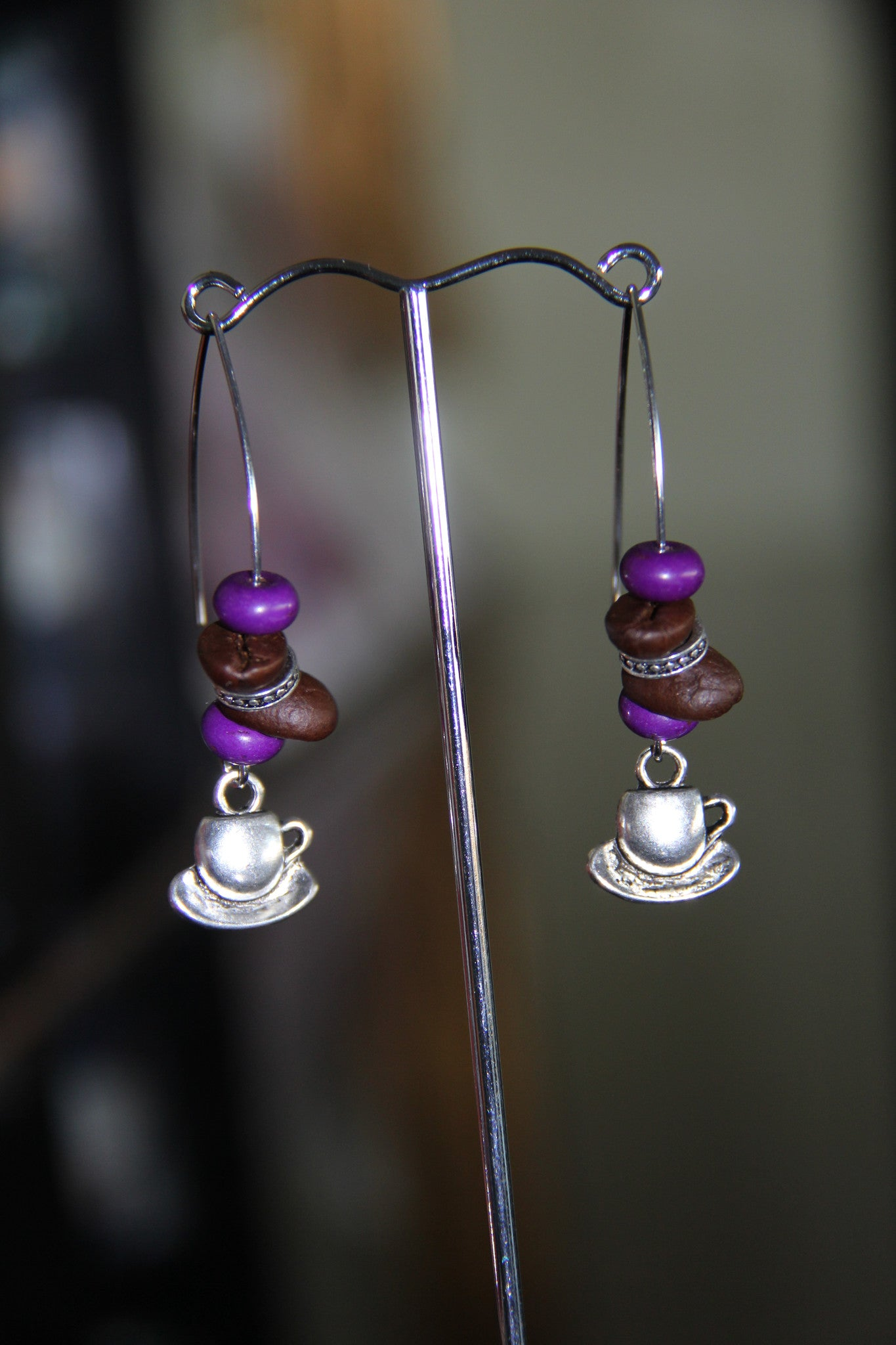 Natural coffee beans with purple, green, yellow howlite beads ear rings
