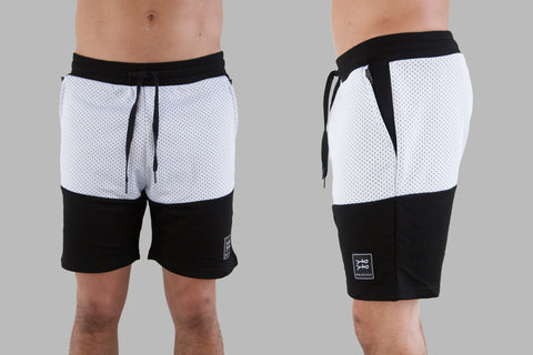 5050 Shorts / White Mesh on Black