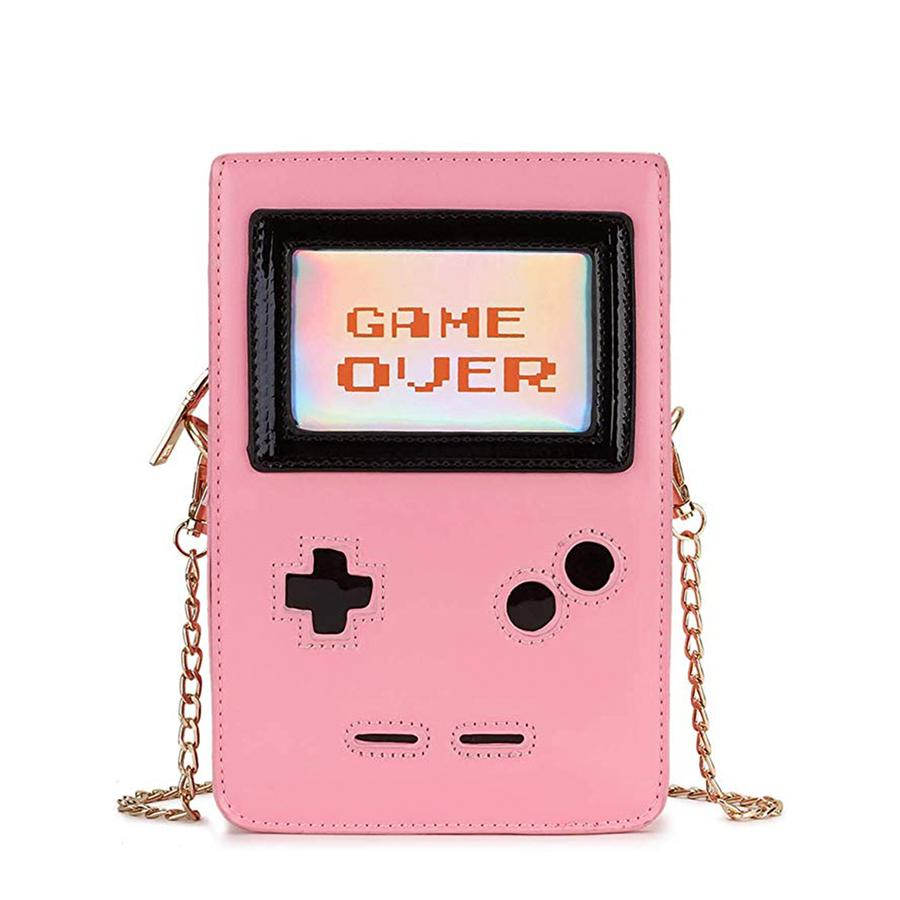 Retro 8-Bit Gamer Handbag in Pink