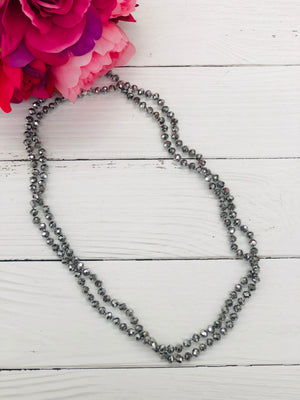 Silver - Beaded Necklace 60""