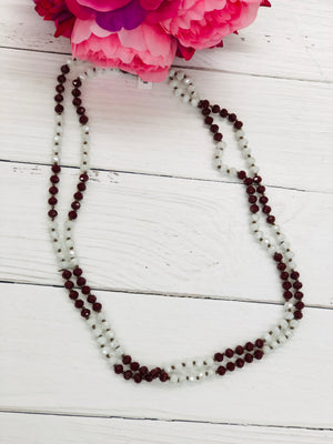 Maroon and White - Beaded Necklace 60""
