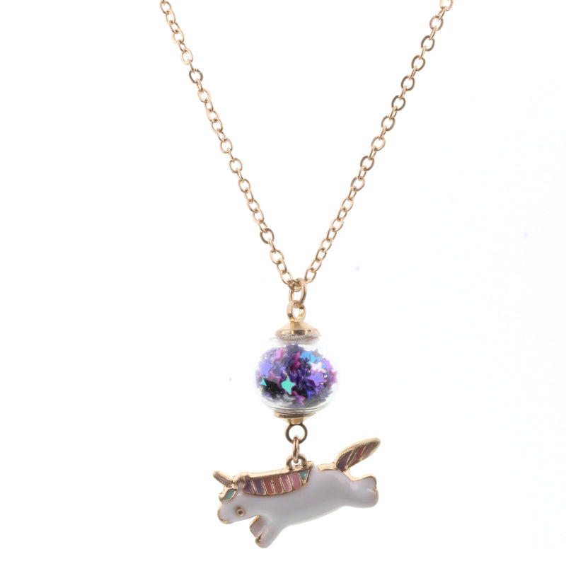 Jane Marie Kids Confetti Ball Unicorn Necklace - Purple