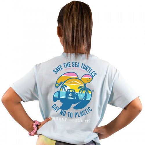 Simply Southern Save the Turtles Light Blue Youth Tee