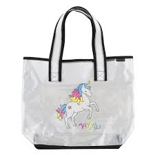 Transparent Holographic Tote - Good Vibes Unicorn