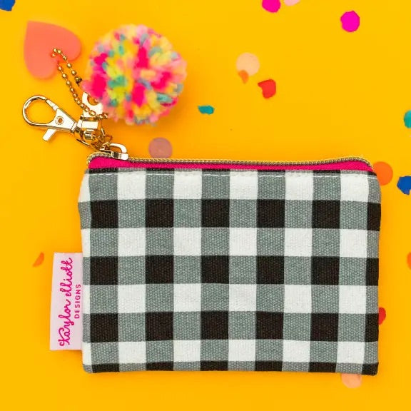 Black Gingham Pom Mini Keychain Pouch