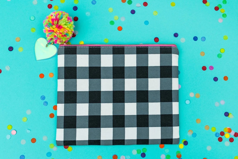 Black Gingham Pom Pouch
