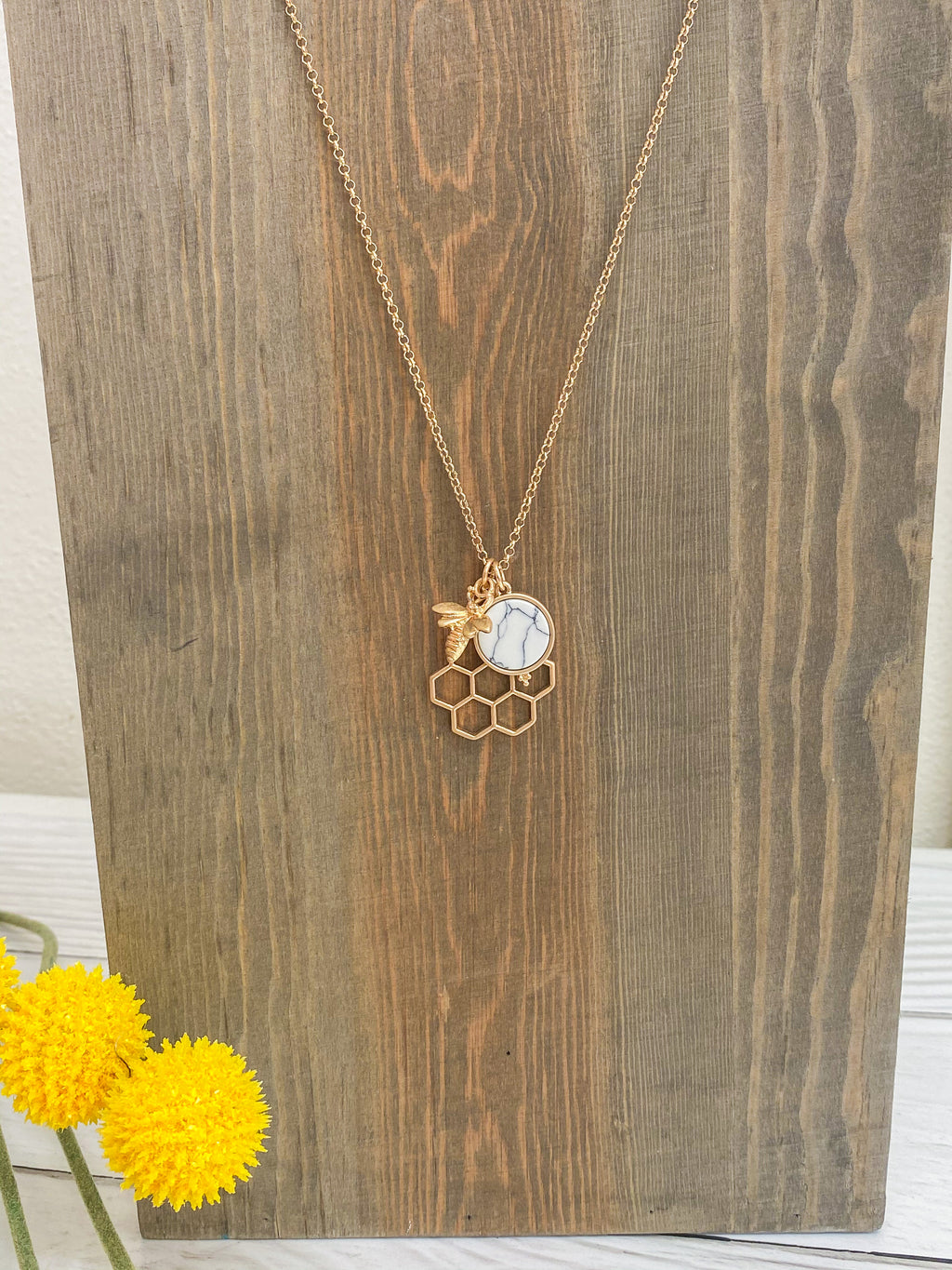 Honeycomb Bee Dainty Necklace