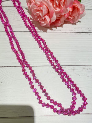 Bling Magenta - Beaded Necklace 60""