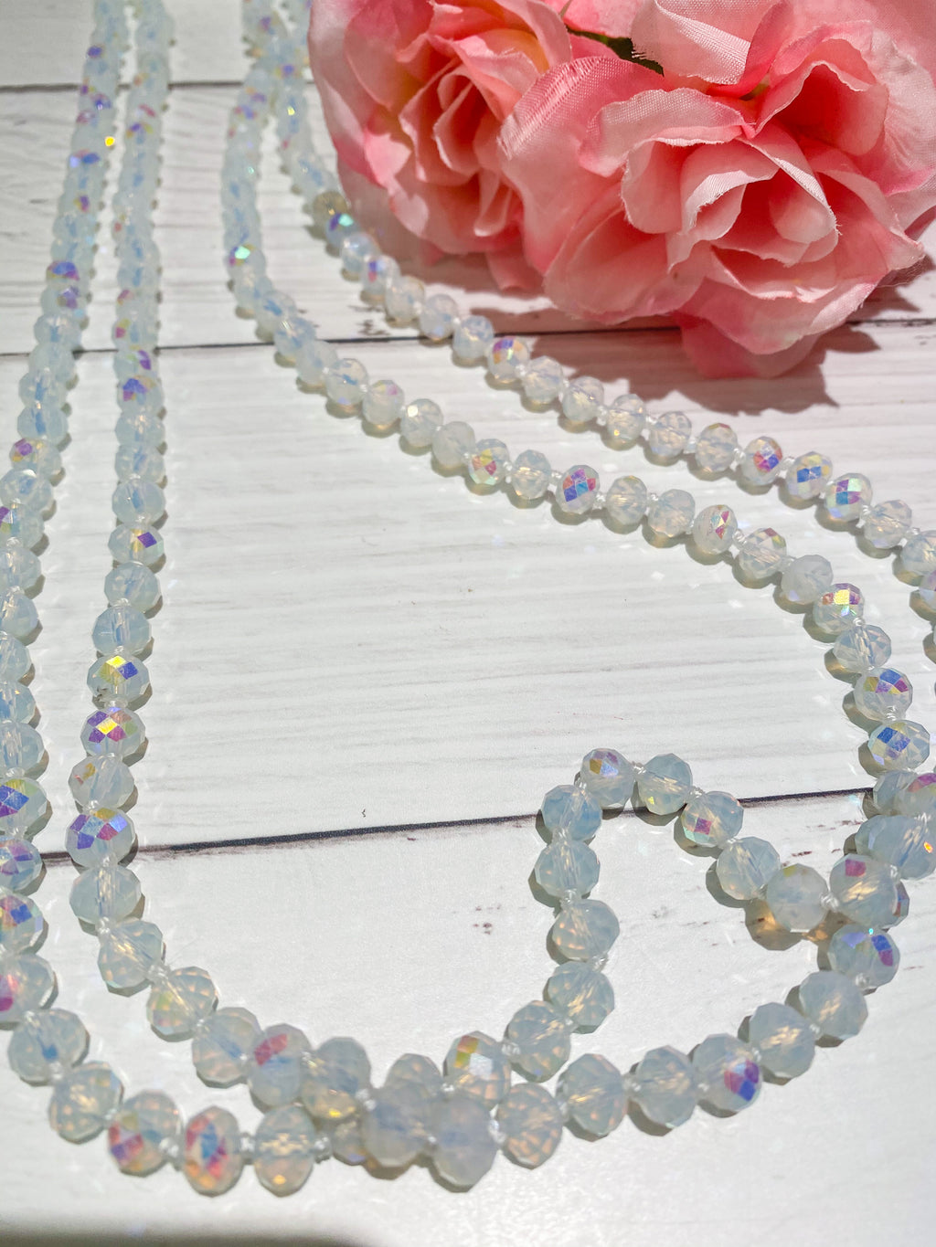 Frosted Aurora - Beaded Necklace 60""