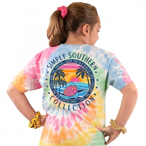 Simply Southern Tie Dye Save the Turtles Youth Tee