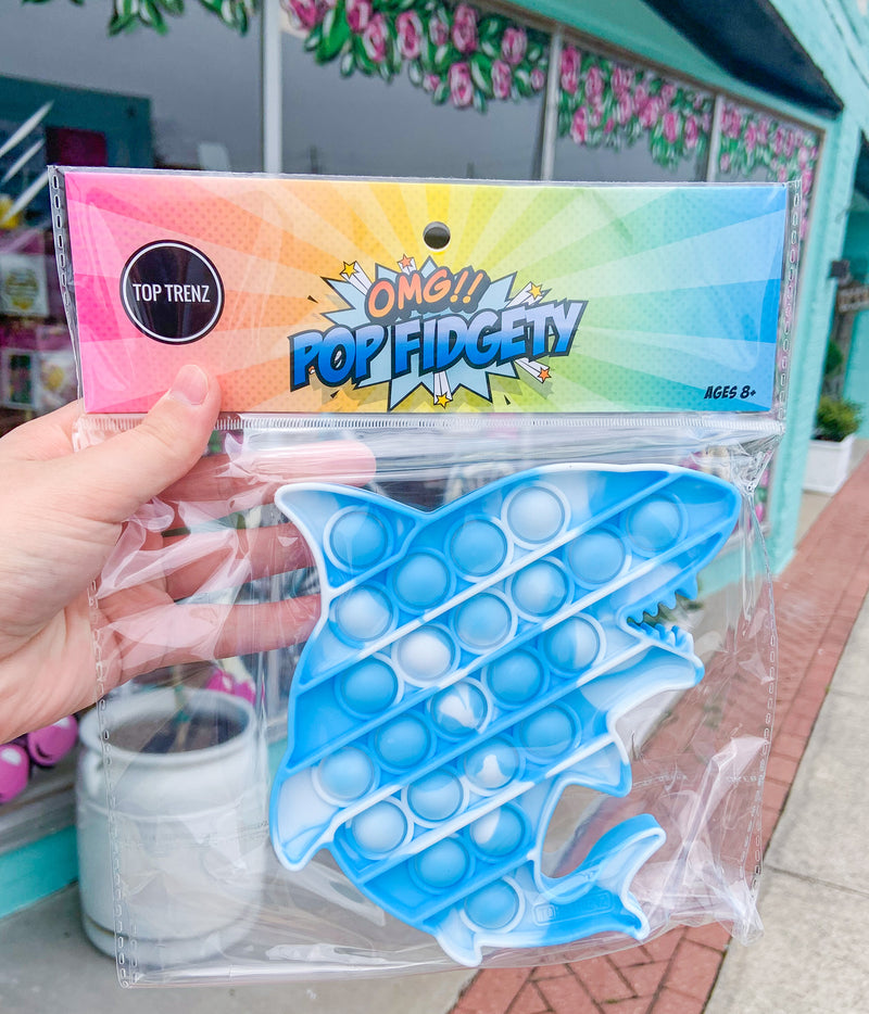 Pop Fidgety Tie Dye Shark Popper Toy