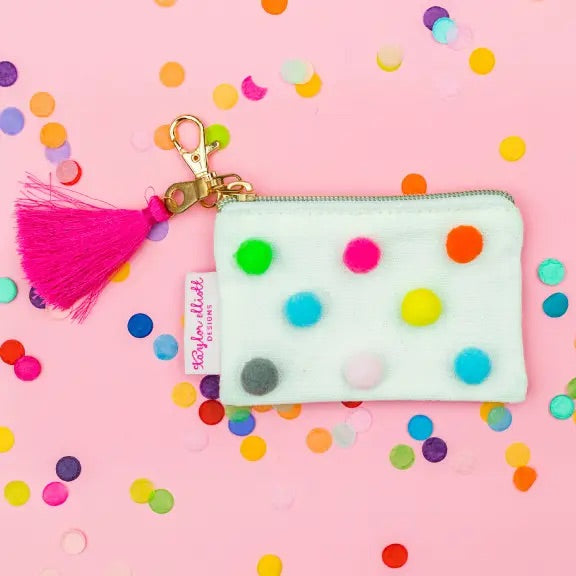 Mini Pom Pom Card Holder Keychain