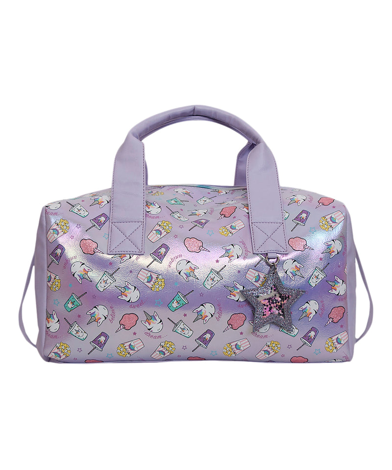 Metallic Lilac Unicorn & Treats Duffle Bag